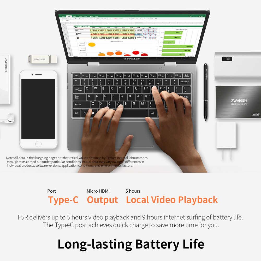 Teclast F5R محمول تاتش شاشة الكمبيوتر المحمول 11.6 بوصة نتبووك 1920*1080 فوز 10 8GB DDR4 256GB SSD إنتل الجوزاء بحيرة N3450