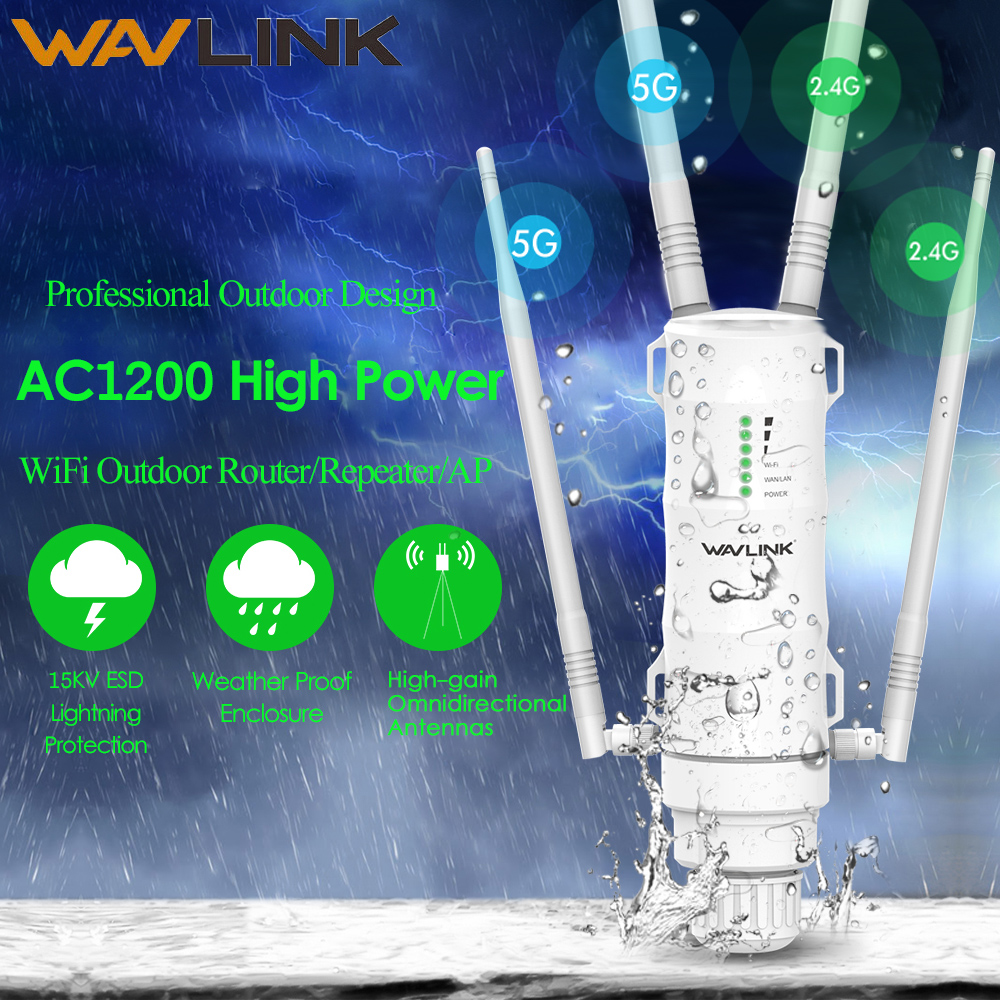 Wavlink High Power AC1200 Outdoor Wireless wifi Repeater AP/WIFI Router 1200Mbps Dual Dand 2.4G+5Ghz Long Range Extender PoE image