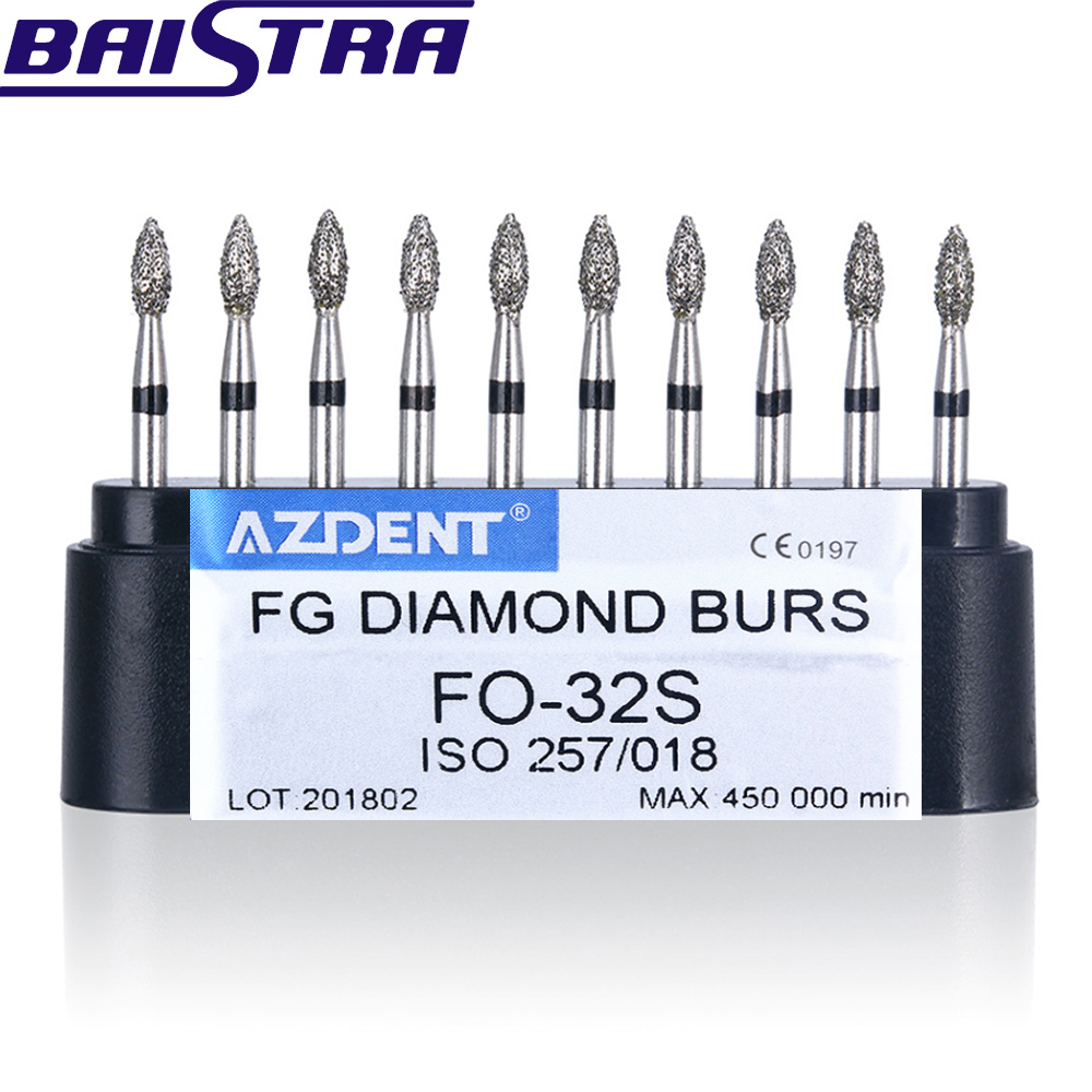 FO-32S 10 Pcs/set Dental High Speed Diamond Burs  Dentist Super Coarse Diamond Dental Lab Tools