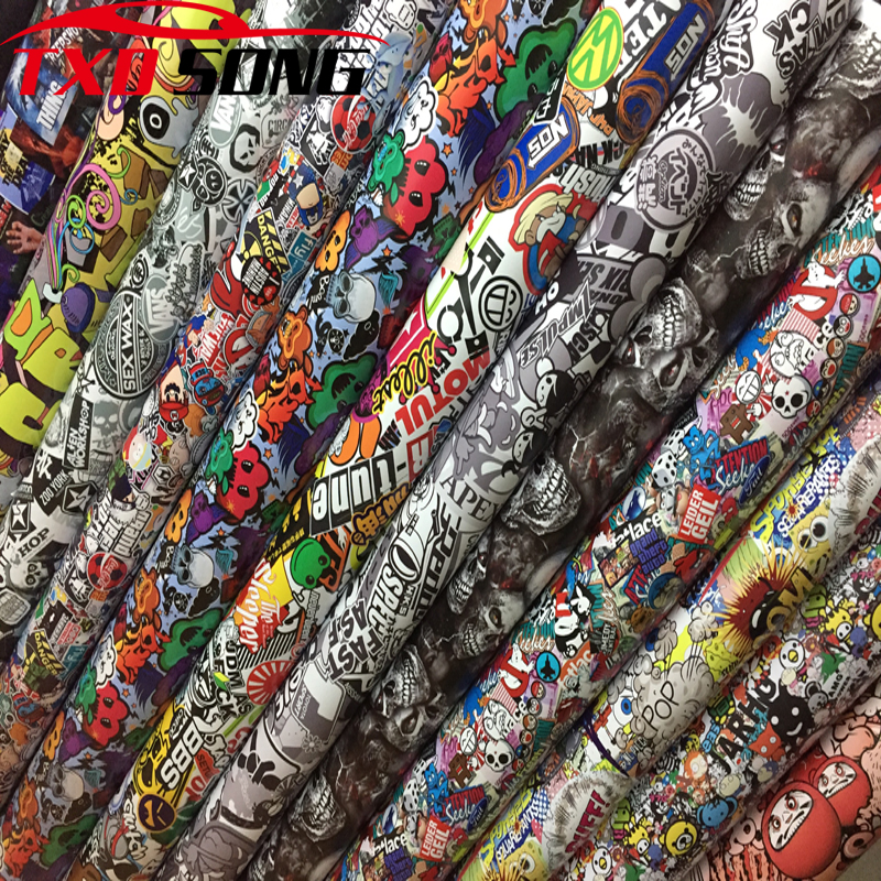 Goodquality Sticker Bomb Vinyl Wrap Film Roll Graffiti Cartoon Car Wrapping Film Sticker Console Computer Laptop Skin Motorcycle