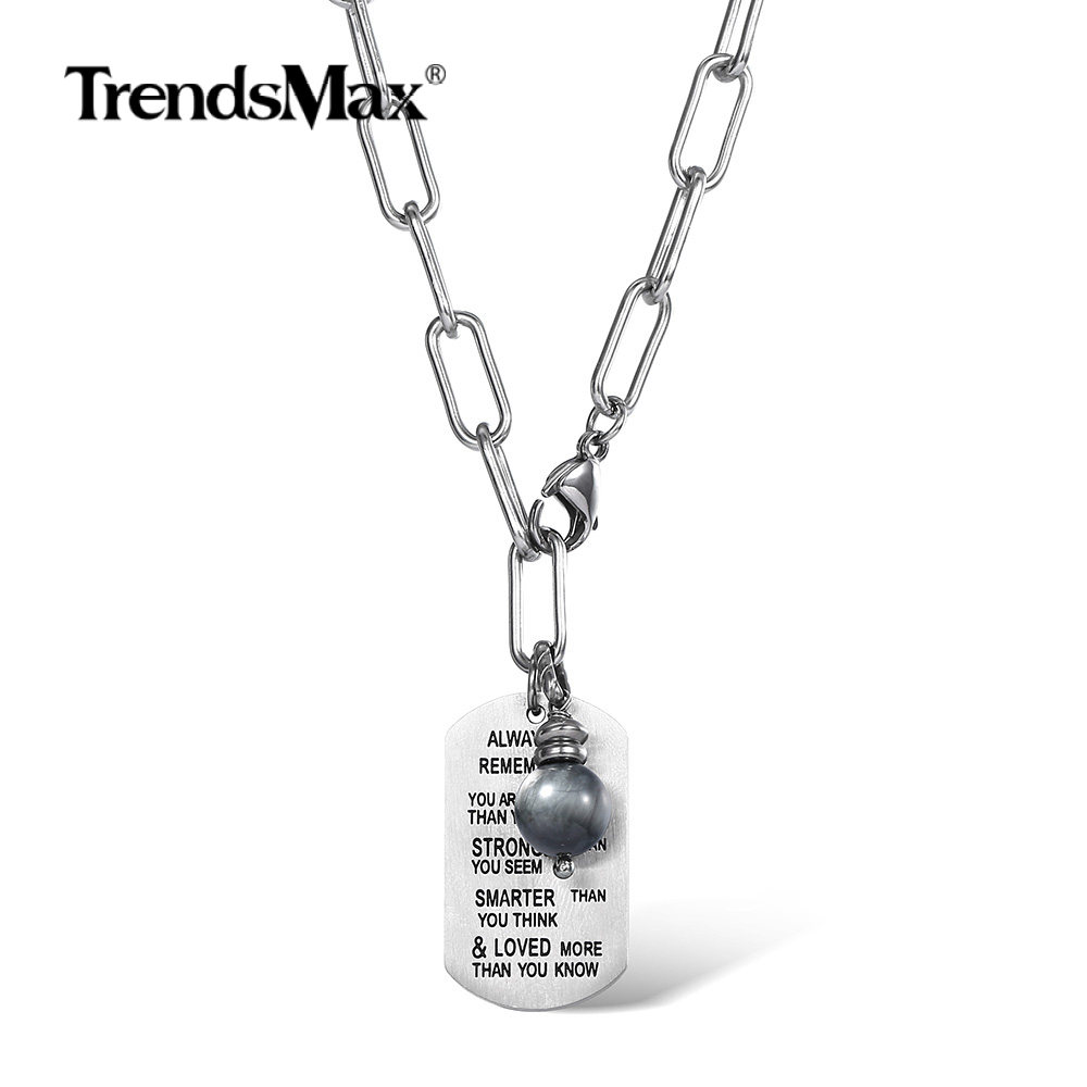 Fashion Encourage Words Pendant Necklace Stainless Steel Rolo Box Chain Eagle Eye Bead Charm for Male Jewelry Gift DN197