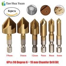 цена на 6pcs 90 Degree 5 Flutes Chamfering Cutter 6-19mm Titanium Coated Chamfer Drill Bit 1/4 Hex Shank Countersink Drill Bit Sets AA