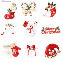 2019 Latest Christmas Theme Brooch Pin Cute Design Brooch Denim Cloth Hat Decoration Best Friend Christmas Gift Eleven Optional rhinestones christmas hat brooch