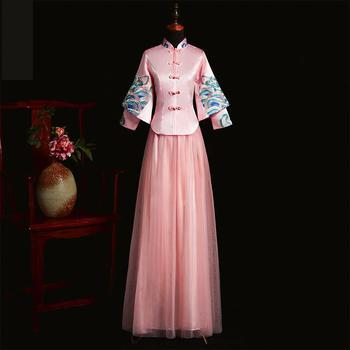 Print Flower Pink Cheongsam Women Weeding Dress Patchwork Chinese Style Qipao Oriental Ancient Full Length Tang Suit Clothing