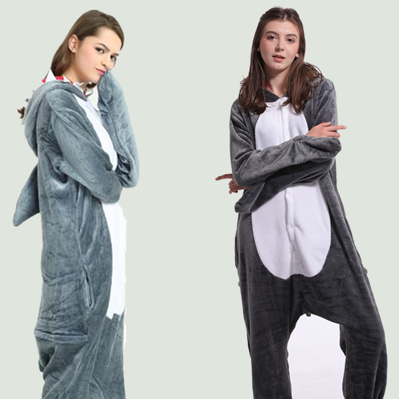 Adult Onesie Women Animal Pajamas Suit Flannel Warm Soft Shark Sleepwear Onepiece Winter Jumpsuit Pijama Cosplay