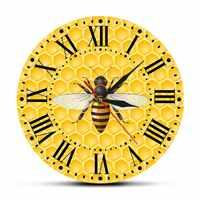 Miel abeilles Nature impression Horloge nid d'abeille Décor à la maison montre murale Quartz aiguille bourdon abeille pollinisateur Duvar Saati Horloge