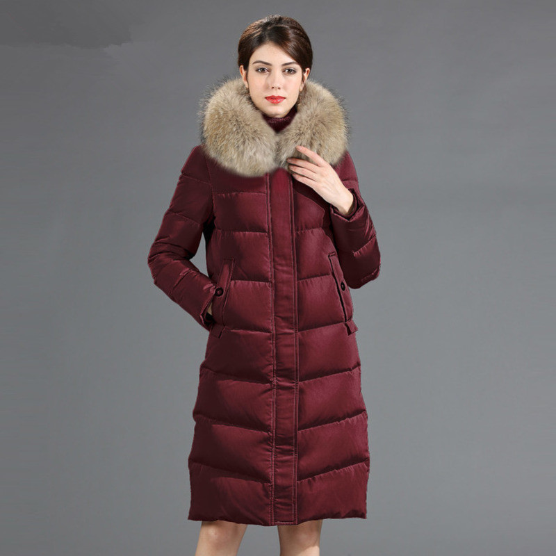 Jacket Down Women's Winter Jacket Women Raccoon Fur Collar Korean Long Jackets For Women Warm Parka Chaqueta Mujer MY S