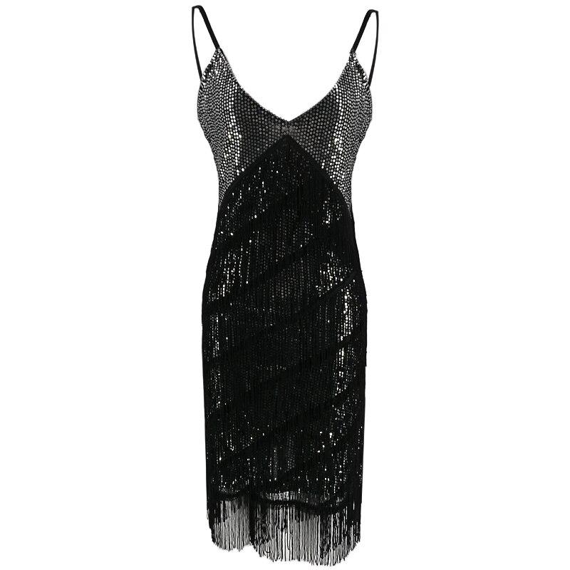 Потрясающее женское платье с V-образным вырезом и бахромой в несколько рядов 1920-х годов платье в стиле Великий Гэтсби платье-хлопушка вечерн...