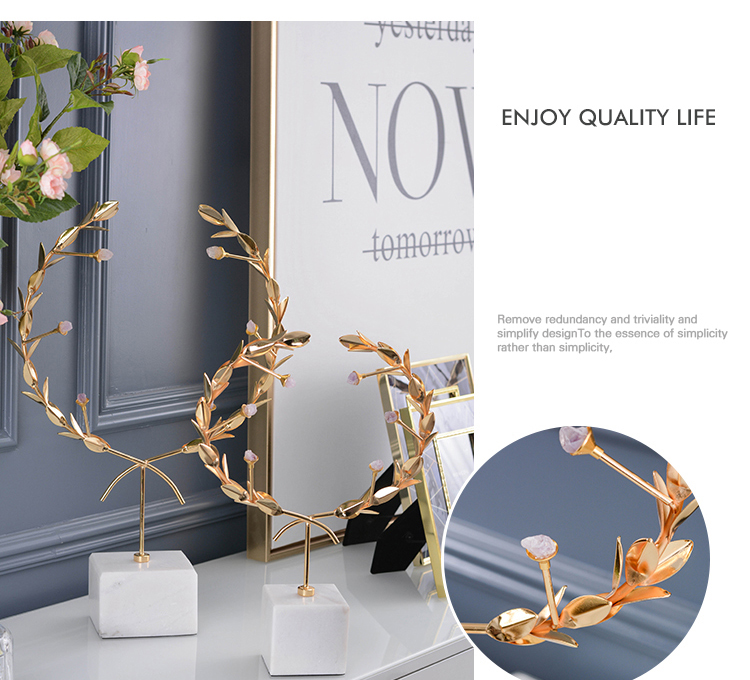 Nordic Gold Metal Garland With Purple Natural Crystal Stones Statue Arts Marble Home Decoration Accessories Living Room Crafts