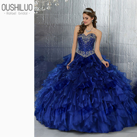 Beading Ball Gown Quinceanera Dresses Royal Blue Tiered Ruffles Quinceanera Gown Sweetheart Open Back Sweet 15 Dress Custom Made