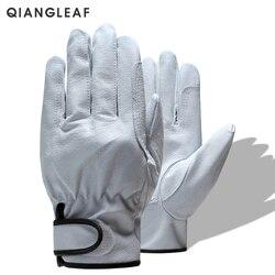 QIANGLEAF бренд Бесплатная доставка Горячая Распродажа защита мужские рабочие перчатки D Класс тонкие кожаные безопасные рабочие перчатки для ...