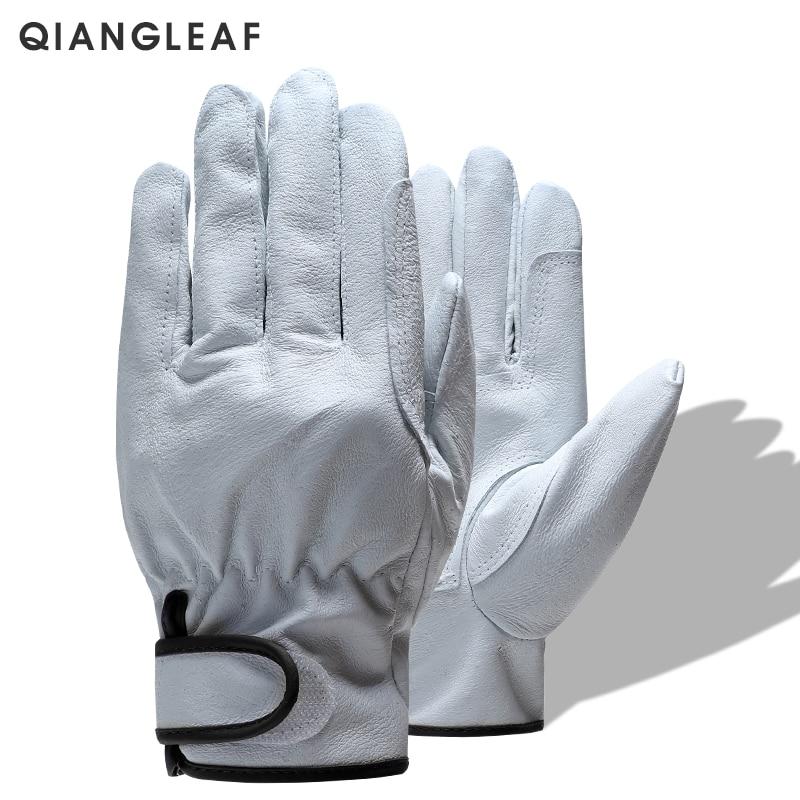 QIANGLEAF marque livraison gratuite offre spéciale Protection hommes travail gant D Grade mince en cuir sécurité en plein air travail gants en gros 527