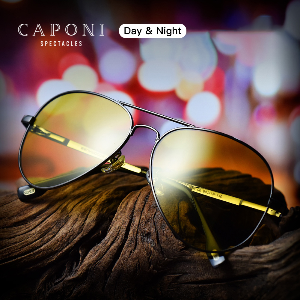 CAPONI Classic Sunglasses For Men Photochromic Day And Night Driving Yellow Glasses Polit Fishing Men's Sun Glasses BSYS3104
