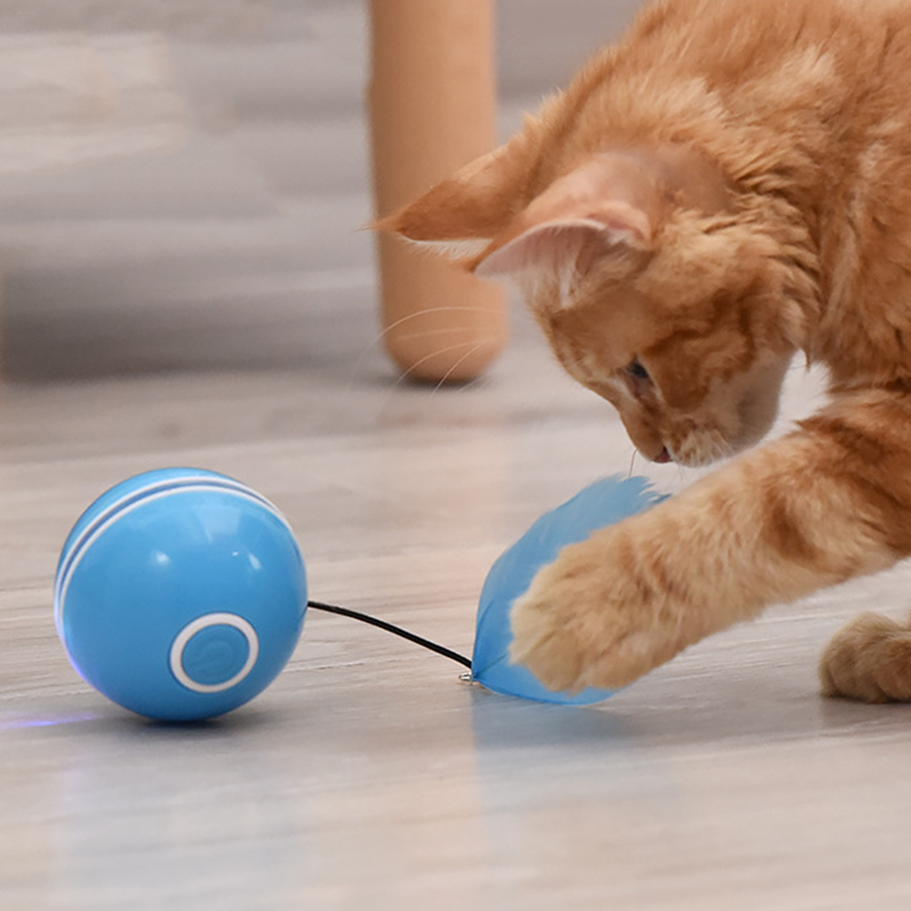 USB Charging Intelligent Interactive Cat Toy Self Rotating Ball Automatic Rotation Ball Feather Toy LED Bell