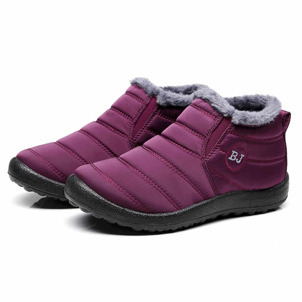2019 Waterdicht Vrouwen Winter Schoenen Plus Size 45 Paar Snowboots Warm Bont Binnen Antislip Bodem Warm Houden Moeder Casual laarzen