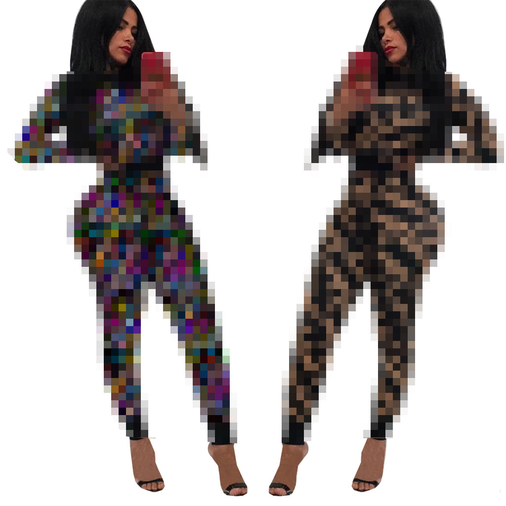 3567 Europe And America WOMEN'S Dress F Long Sleeve Sports Set Two-Piece Set Nightclub Uniforms