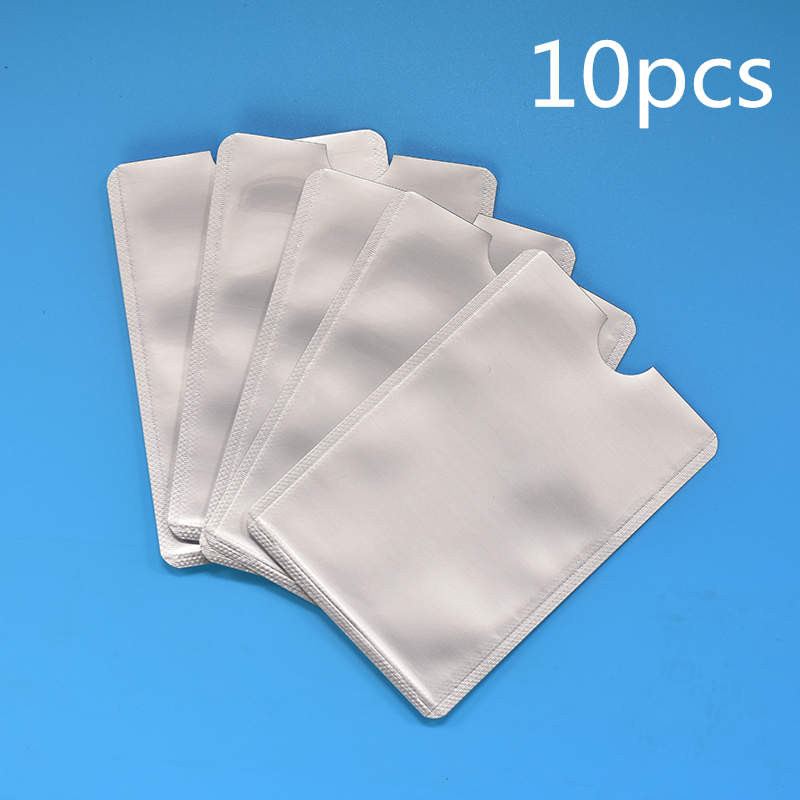 10pcs Anti Scan RFID Sleeve Protector Anti Theft Credit ID Card Aluminum Foil Holder Anti-Scan Card Sleeve