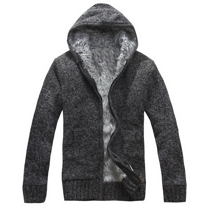Nice Winter Men Zipper Sweatercoat Fleece Hooded Knitted Sweaters Jacket Outwear Casual Thick Warm Cardigan Coats Sweatshirts