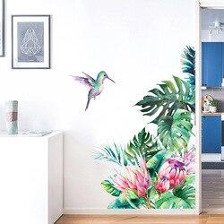 Тропические листья, цветы, птица, настенные наклейки, украшение для спальни, гостиной, Декор для дома, наклейки, съемные наклейки на стену