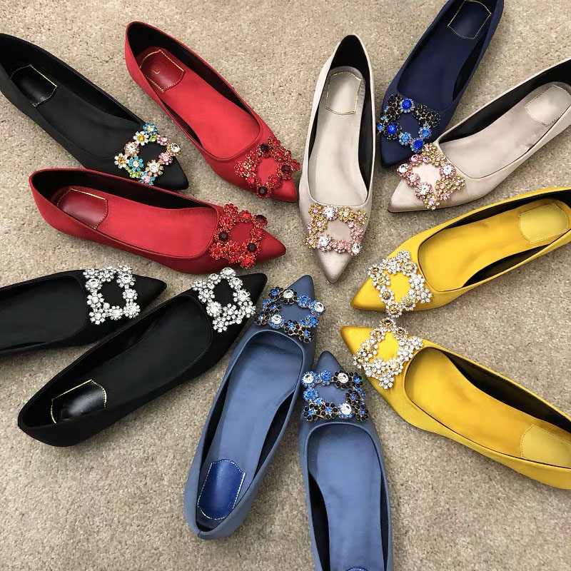 2019 Women's Flat Shoes 100% Silk Genuine Leather Pointed Toe Ballet Flats Hot Sell Women's Shoes Fashion Comfort Ladies Shoes