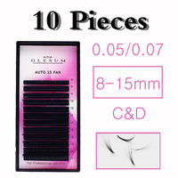 GLESUM 10 Trays Eyelash Extensions Of Blooming Fans Set 0.05 0.07 Mixed Length Of Mink Eyelashes Volume Russian Lashes