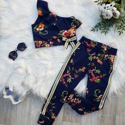 1-6y moda infantil bebê meninas conjuntos de roupas flores imprimir um ombro topos + casual calças compridas 2 pçs