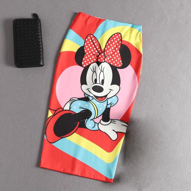 Women's Pencil Skirt Cartoon Mouse Print High Waist Elastic Slim Tube Skirts Young Girl Summer Plus Japan Female Falda SP5341