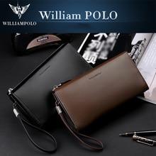WILLIAMPOLO Luxury Brand Men Genuine Leather Wallet Anti-theft Wristlet Storage Zipper wallet Multifunctional waterproof wallet