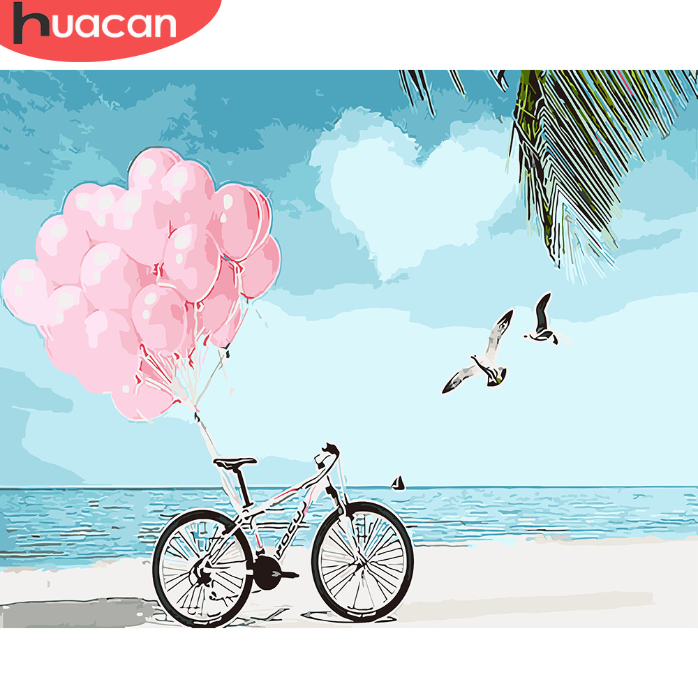 HUACAN DIY Oil Painting By Numbers Landscape Kits Home Decor Pictures By Numbers Beach Scenery Drawing Canvas HandPainted