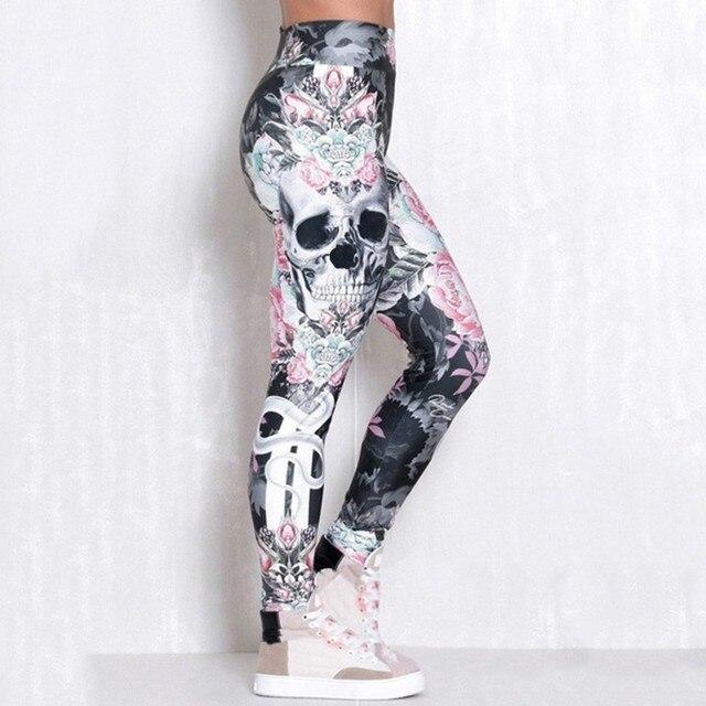 #Z30  Skull Women Printed Leggings Fitness Slim Workout Leggings Trousers For Women Fashion High Waist Leggings Clothing Mujer 4
