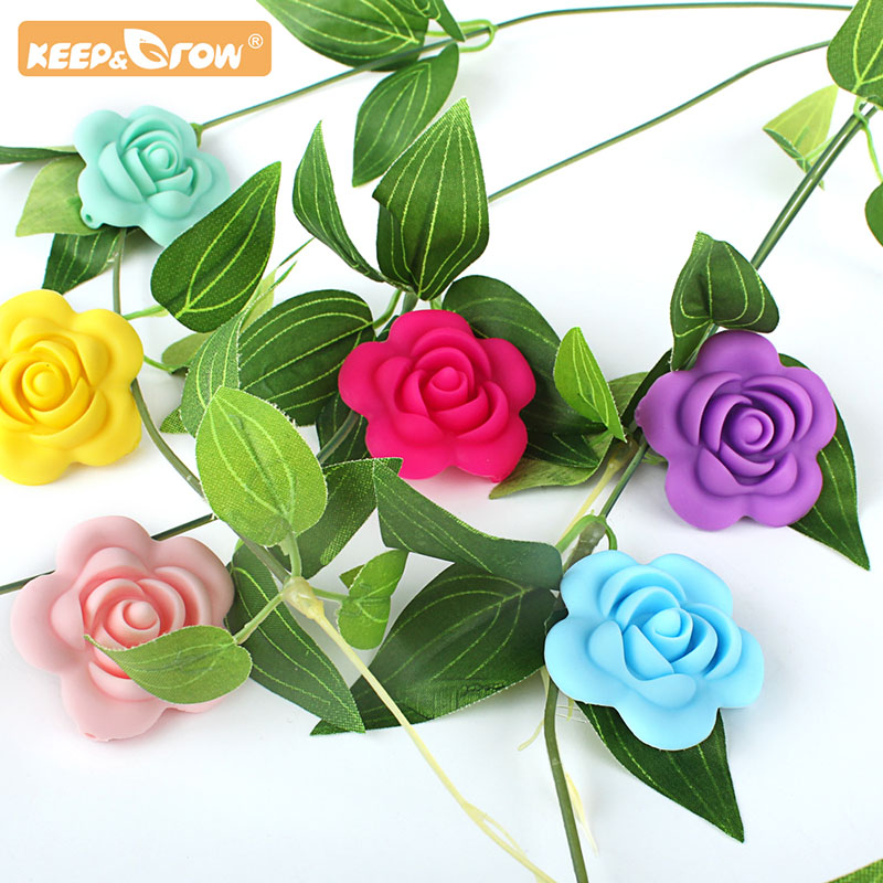 Keep&Grow 10pcs Rose Silicone Beads BPA Free Baby Teethers Beads Accessories Silicone Rodent DIY Pacifier Chain Pendant