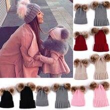 Hot Selling Kids Baby Boy Girl & Mom Winter Knit Warm Soft Beanie Hat Hairball