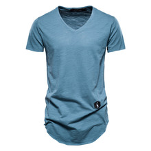 Men's T-Shirt Top-Tees Streetwear Long-Style Quality Solid-Color Men Summer 100%Cotton