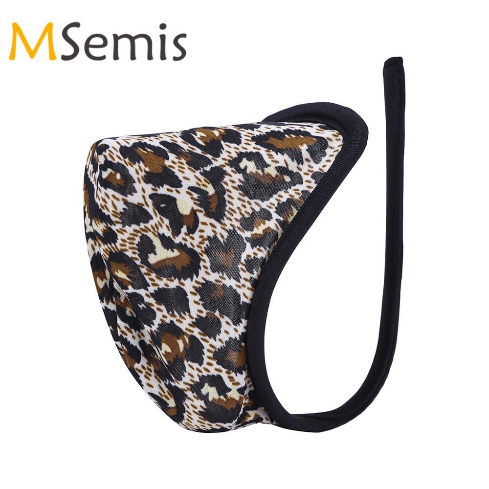 Mens Male Leopard print Mesh Bulge Pouch Briefs Thong Lingerie Underwear