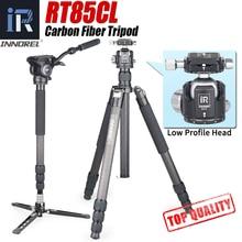 RT85CL 10 couches monopode trépied professionnel en Fiber de carbone pour appareil photo reflex numérique avec Double tête vidéo panoramique à faible gravité