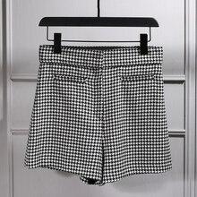 Женский Классический Клетчатый костюм с рисунком «гусиная лапка», шорты, офисные женские короткие штаны, женские повседневные короткие брюки