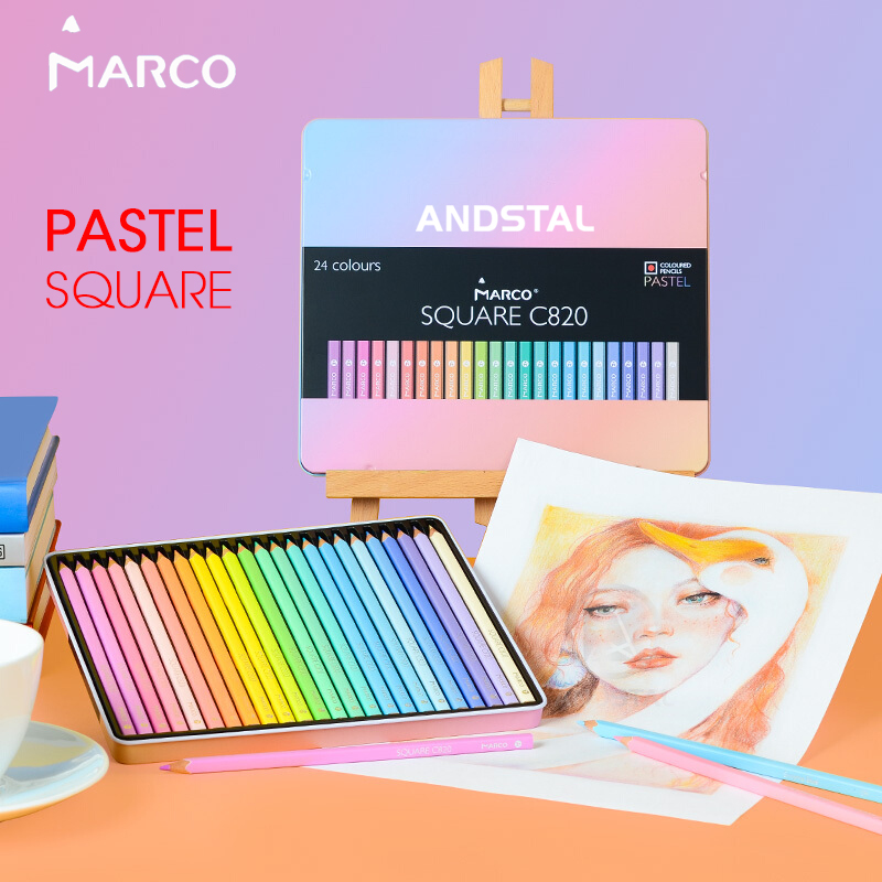 Marco Trendy Pastel Colors Pencils SQUARE BODY 12/24 Andstal Color Pencil Lapis De Cor Professional Colored Pencils For School