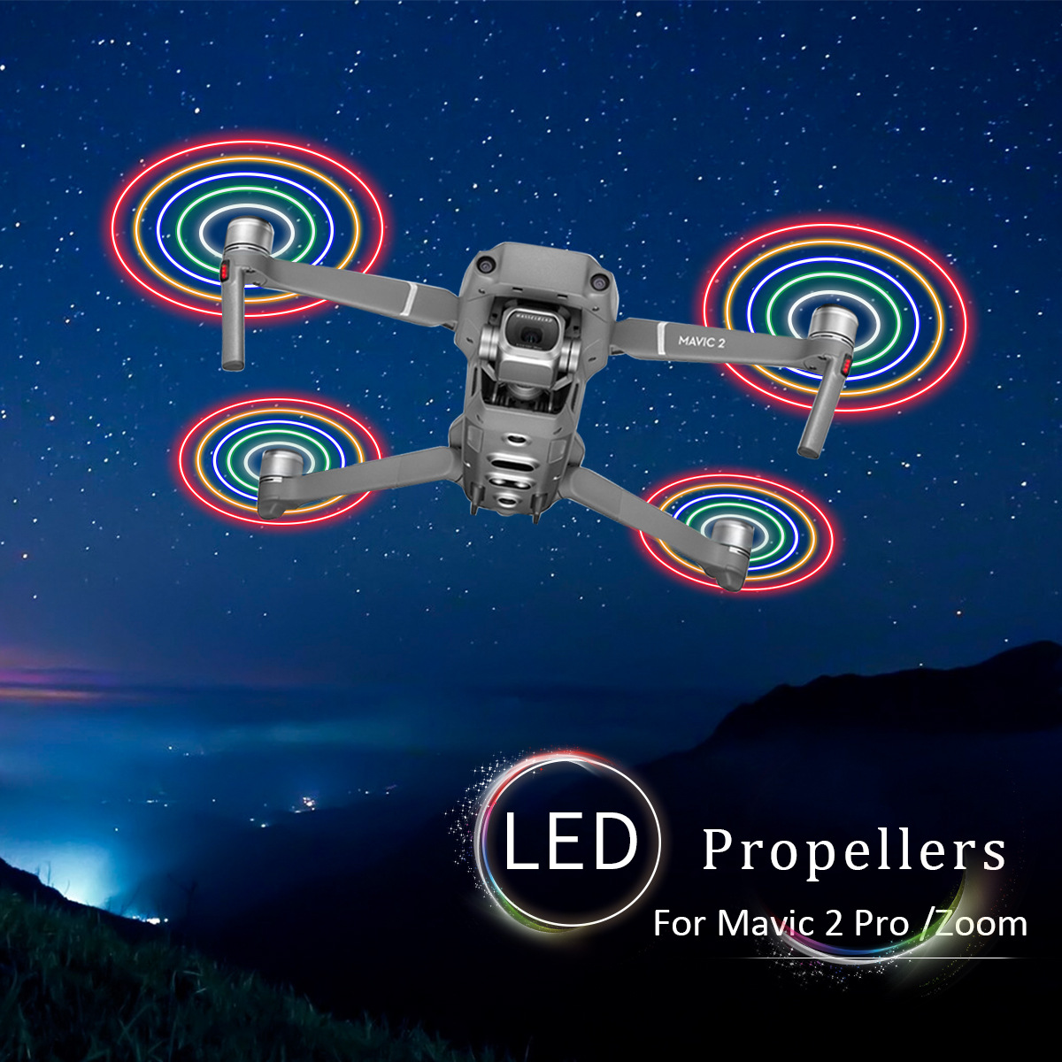 Startrc Flash Circle Propeller LED Light Shining Blade Applicable DJI Unmanned Aerial Vehicle YULAI 2 Mavic 2 Accessories