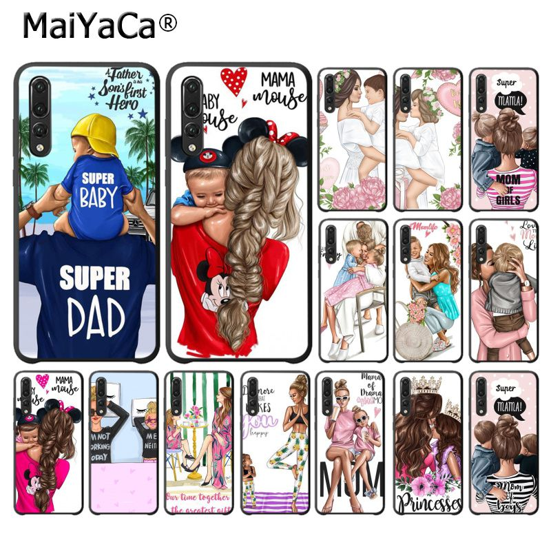 MaiYaCa Beautiful mother lovely daughter son Phone <font><b>Case</b></font> for <font><b>Huawei</b></font> <font><b>P10</b></font> plus 20 pro P20 lite mate9 10 lite honor 10 view10 cover image