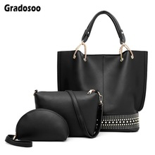 Gradosoo Rivet Handbag Sets Women Shoulder Bag Luxury Brand Messenger Female Fashion Tote Crossbody Purse Leather LBF623