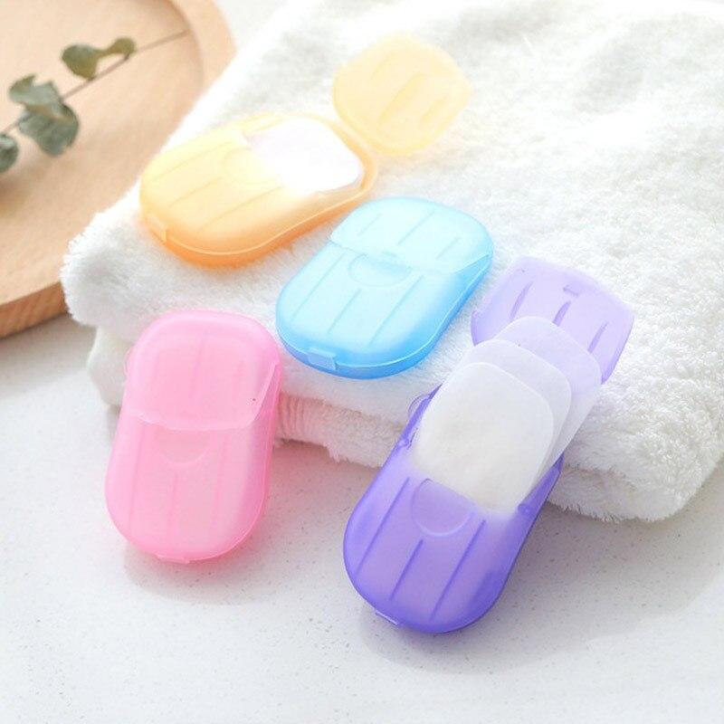Travel Portable Disinfectant Soap Paper 20pcs Disposable Convenient Hand Sanitizer Soap Tablets Mini Clean Soap Tablets