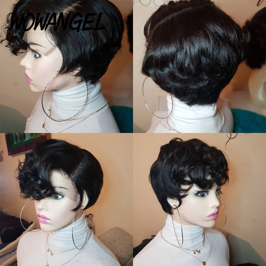 Wowangel 150 Density Pixie Cut Wig Short Lace Front Human Hair Wigs For Black Women 13X4 Lace Front Wig Brazilian Wigs Remy Hair