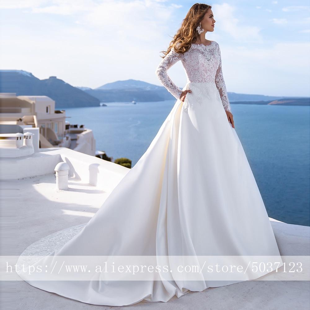 Satin Long Sleeves Wedding Dresses A Line Scoop Lace Appliques Bridal Wedding Gowns Button Court Train Vestido De Noiva