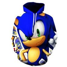 Sonic 3D Модный пуловер худи Повседневный свитер с длинными рукавами одежда для мальчиков и девочек с объемным рисунком тонкое пальто с героями мультфильмов для родителей и детей