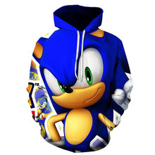 Sonic 3D New Fashion pullover Hoodies Casual Long Sleeve Sweatshirt boys/girls  Clothes Parent-child thin style cartoon coat