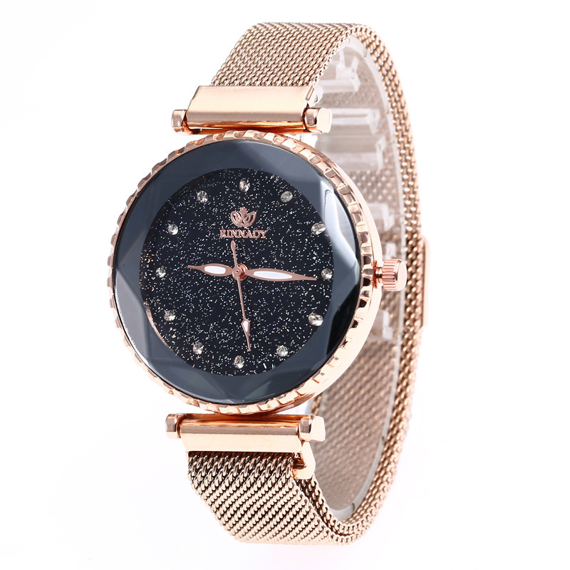 Hot Sale Joom Same Women's Star Sky Simple Disc With Diamond Wristwatch Steel Mesh With Magnetic Buckle Quartz Watch