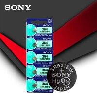 2pcs/lot Sony 364 100% Original 1.55V Silver Oxide Watch Battery 364 SR621SW V364 SR60 SR621 AG1 Button Coin Cell MADE IN JAPAN 2