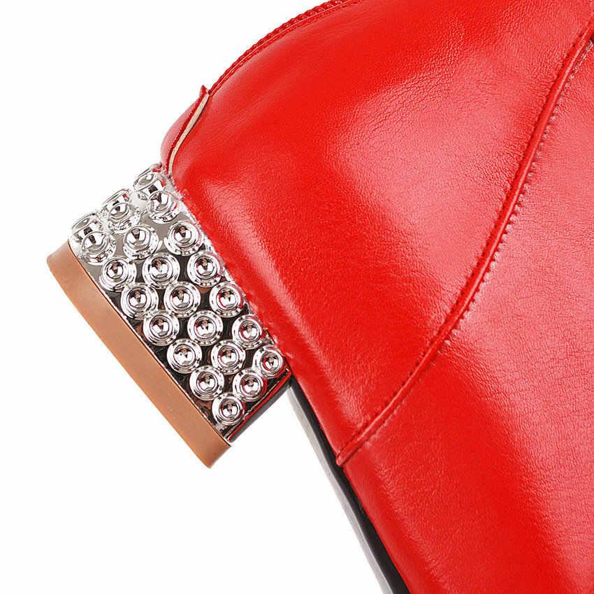 ESVEVA 2020 dize boncuk kare topuk fermuar moda yarım çizmeler PU deri dantel sonbahar kış yuvarlak ayak kadın ayakkabı büyük Size34-43
