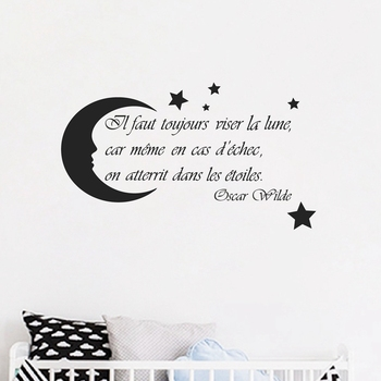 French Nursery Wall Art Decals Moon Stars Quote Decor , Oscar Wilde Saying Vinyl Wall Sticker France Home Kids Room Decoration 1