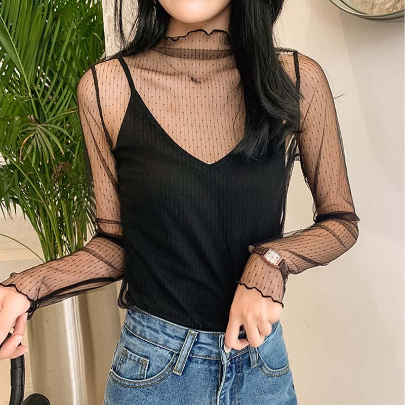2020 New Women Lace Mesh Sheer Blouse See-through Long Sleeve Top Shirt Blouse Fashion  Transparent White Shirt Female Blusas
